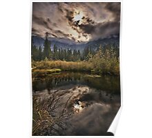 Sunset on the swamp in the mountains romantic landscape of the Pacific Northwest fine art - Tramonti e riflessi Poster