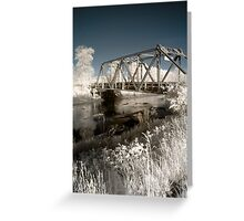 Bridge over the river in the fields color infrared - Il ponte verso il Sogno Greeting Card