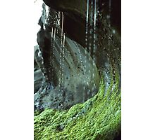 Sandstone formation and moss with rivulet of water close up nature shot - Formando la Terra Photographic Print