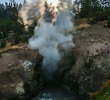 Landscape hot spring warm pool steam and water at sunset naturalistic wall art from Yellowstone park - La tana del Drago by visionitaliane
