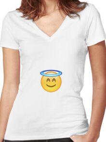 Smiling Angel Emoji Women's Fitted V-Neck T-Shirt