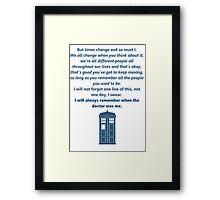 The 11th Doctor's Final Speech Framed Print