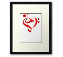 Treble-Bass Heart RED Framed Print