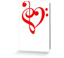 Treble-Bass Heart RED Greeting Card