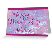 Happy Winter Solstice - Swirly Font, Magenta & Snow Greeting Card