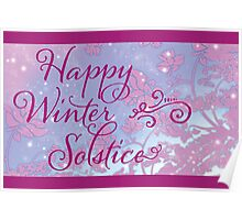 Happy Winter Solstice - Swirly Font, Magenta & Snow Poster