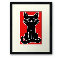 Sitting Black Cat Framed Print
