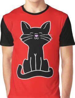 Sitting Black Cat Graphic T-Shirt