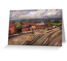Train - Entering the train yard Greeting Card