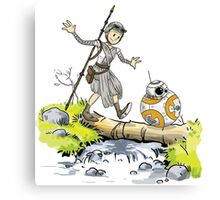 Star Wars The Force Awakens / Calvin and Hobbes- BB-8 and Rey Canvas Print