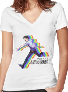 Flaming Homosapien! Women's Fitted V-Neck T-Shirt