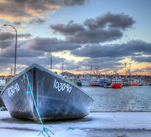 Black Skiff at the Lobster Rock Wharf by Debbie  Roberts