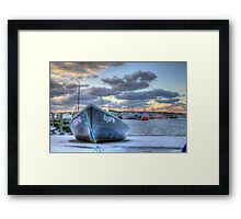 Black Skiff at the Lobster Rock Wharf Framed Print