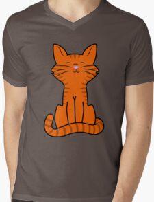 Sitting Orange Cat with Tiger Stripes Mens V-Neck T-Shirt