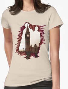 Sherlock Holmes Sillhoute Womens Fitted T-Shirt