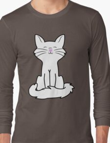 Sitting White Cat Long Sleeve T-Shirt