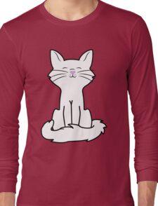 Sitting White Cat Long Sleeve T-Shirt