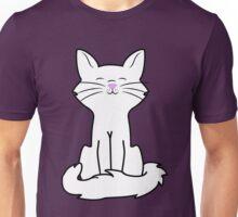 Sitting White Cat Unisex T-Shirt
