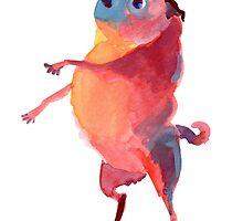 Pink Talker Pug Art by inkpug