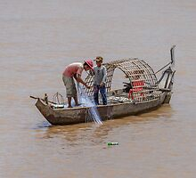 Fishing from the Mekong 2 by Werner Padarin