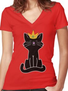 Black Cat Princess with Gold Crown Women's Fitted V-Neck T-Shirt
