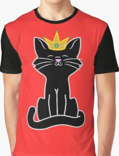 Black Cat Princess with Gold Crown Graphic T-Shirt