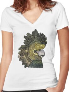 Black Cockatoo Women's Fitted V-Neck T-Shirt