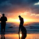 Family Reunion - sunset Baylys Beach, NZ by Jenny Dean