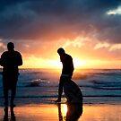 Family Reunion - sunset Baylys Beach, NZ by Jenny Dean