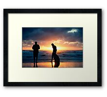 Family Reunion - sunset Baylys Beach, NZ Framed Print