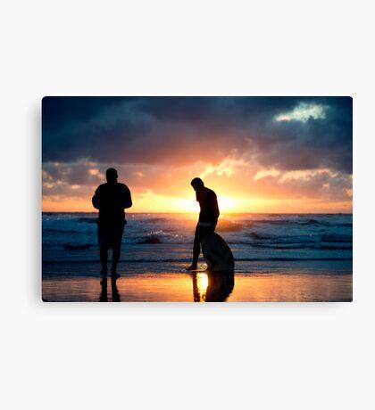 Family Reunion - sunset Baylys Beach, NZ Canvas Print