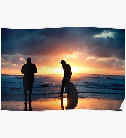 Family Reunion - sunset Baylys Beach, NZ Poster