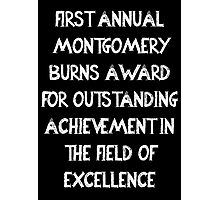 First Annual Montgomery Burns Award for Outstanding Achievement in the Field of Excellence Photographic Print