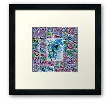 blue, pink, green watercolors Framed Print