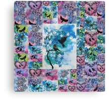blue, pink, green watercolors Canvas Print