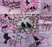 pink birds and sakura by cathyjacobs