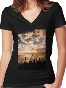 Dusk at Brighton Beach Women's Fitted V-Neck T-Shirt
