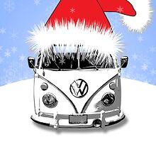 VW Camper Happy Holidays Blue by splashgti