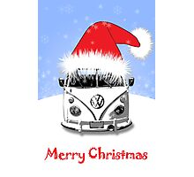 VW Camper Merry Christmas Blue Photographic Print