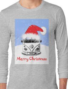 VW Camper Merry Christmas Blue Long Sleeve T-Shirt