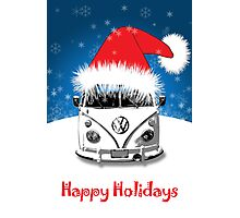 VW Camper Happy Holidays Photographic Print