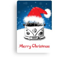 VW Camper Merry Christmas Card Canvas Print