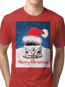 VW Camper Merry Christmas Card Tri-blend T-Shirt