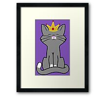Gray Cat Princess with Gold Crown Framed Print