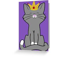 Gray Cat Princess with Gold Crown Greeting Card