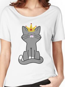 Gray Cat Princess with Gold Crown Women's Relaxed Fit T-Shirt