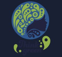 Think Green, Ecology Concept icon, woman half face silhouette One Piece - Long Sleeve