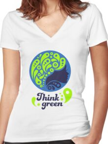 Think Green, Ecology Concept icon, woman half face silhouette Women's Fitted V-Neck T-Shirt