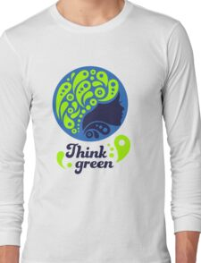 Think Green, Ecology Concept icon, woman half face silhouette Long Sleeve T-Shirt