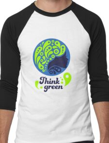 Think Green, Ecology Concept icon, woman half face silhouette Men's Baseball ¾ T-Shirt